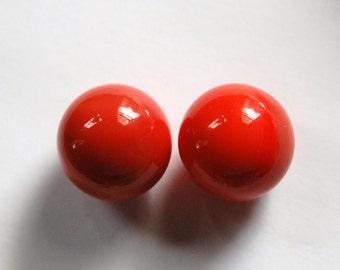 Vintage German No Hole Glass Ball Stones Coral 15mm cab441B
