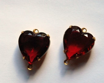 Rose Red Glass Heart Connector in 2 Loop Brass Setting 15mm hrt001H2