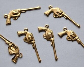 Raw Brass Pistol Gun Charms (6) chr067