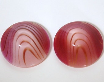 Vintage Mauve Pink Acrylic Layered Cabochons 28mm cab181