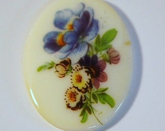 Vintage Light Blue Floral Glass Cabochon Germany 40x30mm cab681A