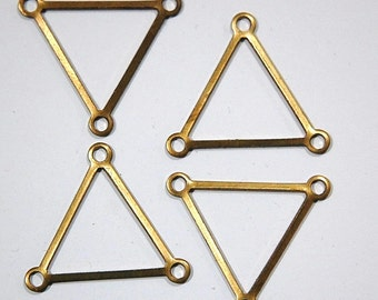 3 Loop Raw Brass Open Triangle Pendant Connector 29mm (4) mtl203