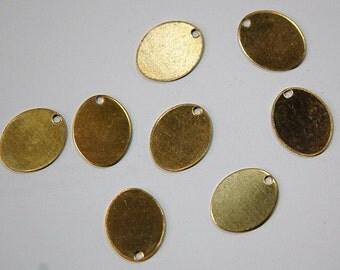 1 Hole Raw Brass Flat Oval Charms Drops (8) mtl202A