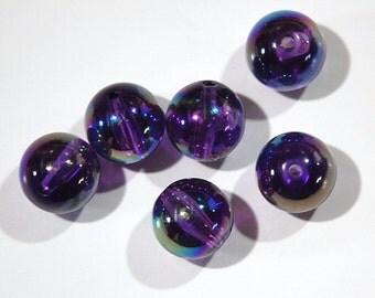 Vintage Acrylic Purple AB Beads 13mm bds345
