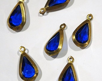 Vintage Acrylic Sapphire Brass Frame Set Teardrop Charms cha004