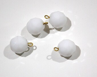 1 Loop White Faceted Glass Drops Czech Beads 12mm (4) drp081