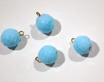 1 Loop Light Blue Faceted Glass Drops Czech Beads 12mm (4) drp081B