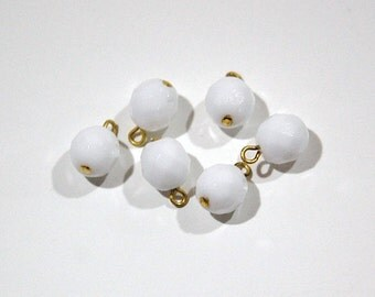 1 Loop White Faceted Glass Drops Czech Beads 8mm (6) drp083