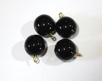 1 Loop Jet Black Smooth Glass Drops Czech Beads 12mm (4) drp086C