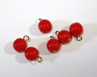 1 Loop Red Smooth Glass Drops Czech Beads 8mm (6) drp088A