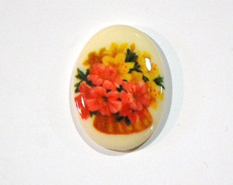 Vintage Glass Cabochon Basket of Flowers 25x18mm cab680L