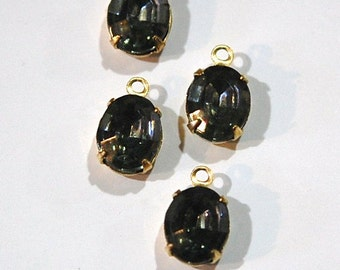 Faceted Black Diamond Oval Stones in 1 Loop Brass Setting ovl005CC