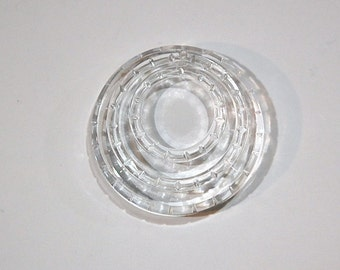 Vintage Clear Etched Circle Pendant Germany pnd080