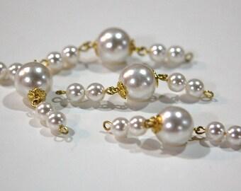 Vintage Acrylic Pearl Drops Connectors Japan drp032