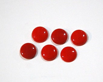 Vintage Opaque Red Glass Cabochons 8mm cab173B