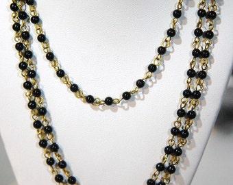 Vintage Black Plastic Beaded Chain Raw Brass Links Japan chn067
