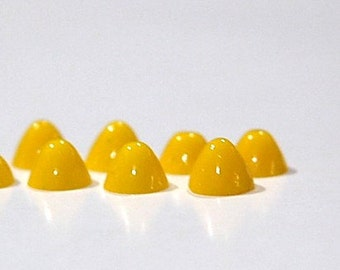 Vintage Opaque Yellow High Dome Glass Cabochons 7mm cab701JJ