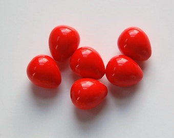 Vintage Acrylic Chubby Orange Teardrop Beads bds636B