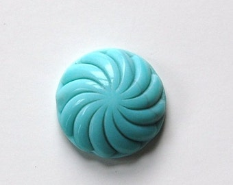 Vintage Turquoise Blue Glass Swirled Domed Cabochon cab220A