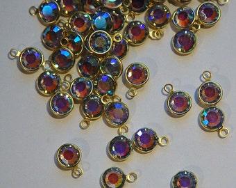 1 Loop Light Sapphire AB Swarovski Brass Channel Set Drops cha002H