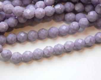 Czech Opaque Purple Faceted Glass Beads 8mm (25) czh001