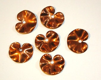 Vintage Copper Coated Metal Lily Pad Charm Pendants mtl354