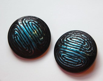 Vintage Teal Blue and Black Metallic Plastic Buttons LG btn019
