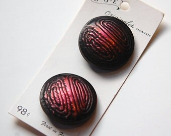 Vintage Fuchsia and Black Metallic Plastic Buttons LG btn019B