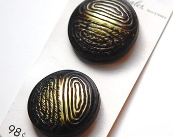 Vintage Gold Yellow and Black Metallic Plastic Buttons LG btn019D
