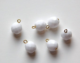 1 Loop White Faceted Glass Drops Czech Beads 10mm (6) drp082