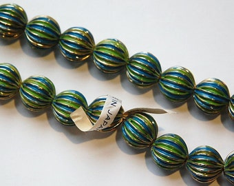 Vintage Brass Melon Beads Painted Green Blue Japan bds999B