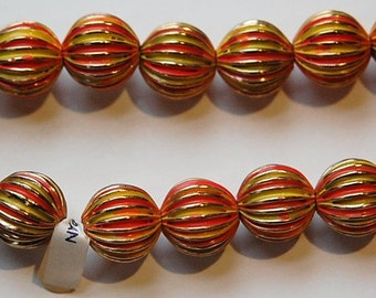 Vintage Brass Melon Beads Painted Orange Yellow Japan bds999C