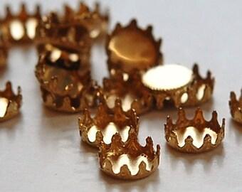 Raw Brass Round Crown Edge Settings 8mm (8) stn034F