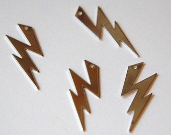 1 Hole Silver Plated Brass Lightning Bolt Charm Pendant (6) mtl269F