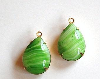 Vintage Green Stripe Glass Teardrop Stones in 1 Loop Brass Setting 18x13mm par004S