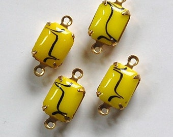 Vintage Opaque Yellow Stones with Black 2 Loop Brass Setting 10mm x 8mm squ003N2