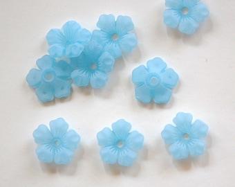 Matte Blue Stacking Flower Beads 14mm bds671D