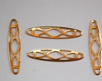 Raw Brass Oval Braid Look Link Connector Drop (6) mtl321E