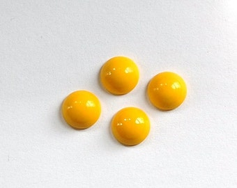 Vintage Opaque Yellow Glass Domed Cabochons 9mm cab702U