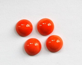 Vintage Opaque Orange Glass Cabochons 11mm cab703W