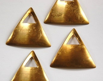 Raw Brass Dapped Triangle Pendant with Triangle Opening mtl319A