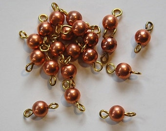 Vintage Copper Beads with Brass Loops Connectors drp105