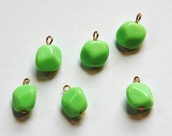 Vintage Green Acrylic Baroque Twist Bead Drop drp101A