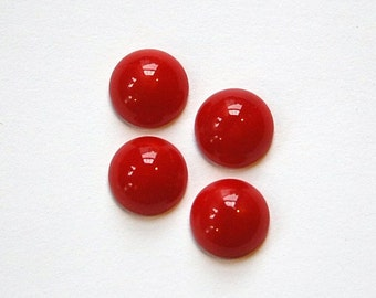 Vintage Opaque Red Glass Cabochons 11mm cab703AA