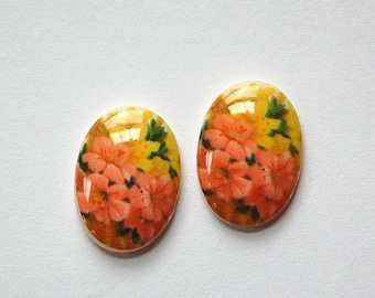 Vintage Peach and Yellow Floral Glass Cabochon Germany 18mm x 13mm cab680S