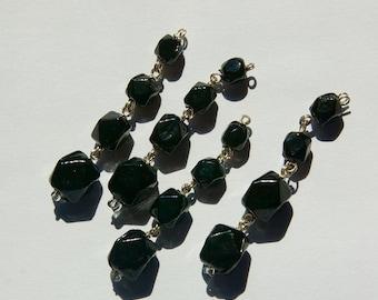 Vintage Faceted Jet Black Glass Drops Silver Tone Links drp107C