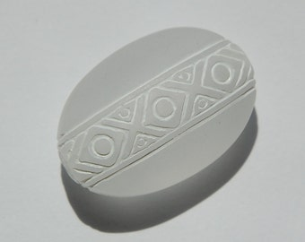 German Vintage Focal Bead Matte with White Oval Bead bds813