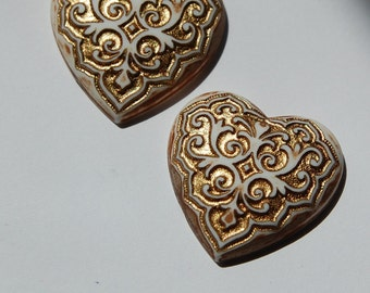 Italian Antiqued Brown Gold Vintage Etched Heart Acrylic Cabochons cab630A