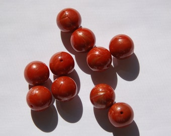 Vintage Lucite Rust Metallic Shimmer Beads 14mm bds705F