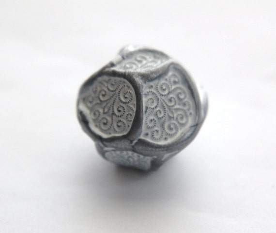 Really Large Baroque Etched Silver Gray and White Focal Bead bds690A